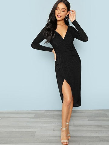 Deep V Plunging Neck Long Sleeve Wrap Split Front Dress