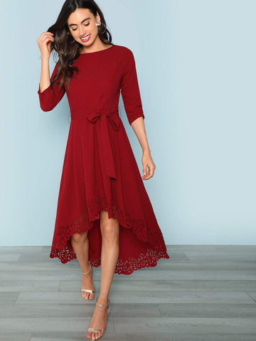 Boat Neck Scalloped Laser Cut Self Belted Dip Hem Dress