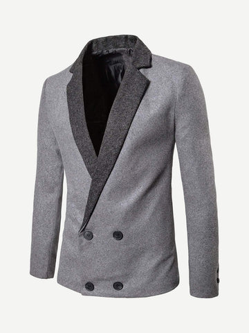 Regular Fit Grey Shawl Collar Double Breasted Blazer