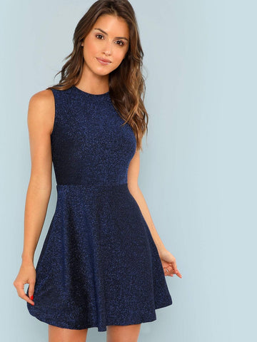 Round Neck Fit and Flare Sleeveless Glitter Dress