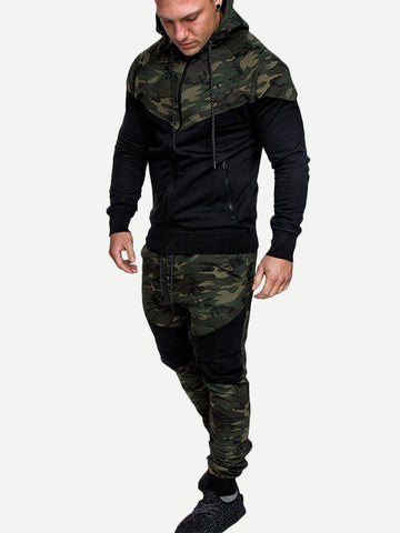 Long Sleeve Contrast Camo Hooded Jacket With Drawstring Pants
