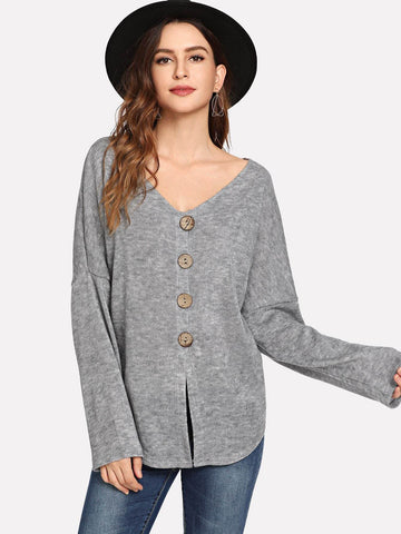 Single Breasted Asymmetrical Dip Hem Sweater Cardigan