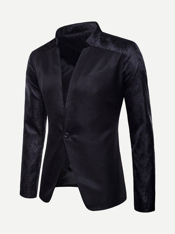 Black Stand Collar Jacquard Single Button Blazer