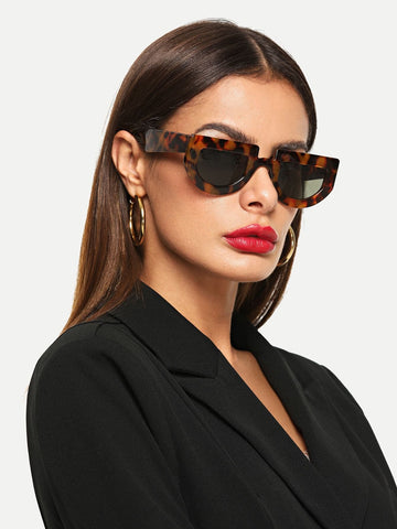 Multicolor Flat Top Chunky Frame Sunglasses