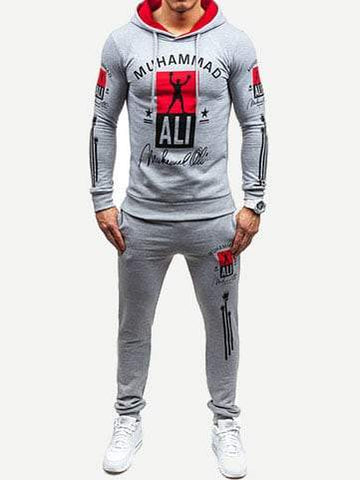 Black Long Sleeve Letter Print Hoodie With Drawstring Pants