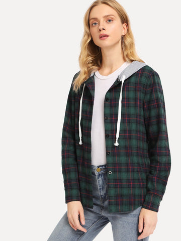 Single Breasted Drawstring Detail Plaid Hooded Coat