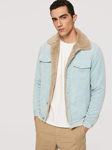 Blue Single Breasted Button Up Pocket Jacket