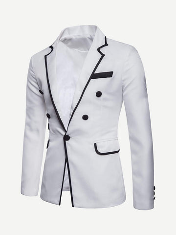 Regular Fit Contrast Trim Single Button Blazer