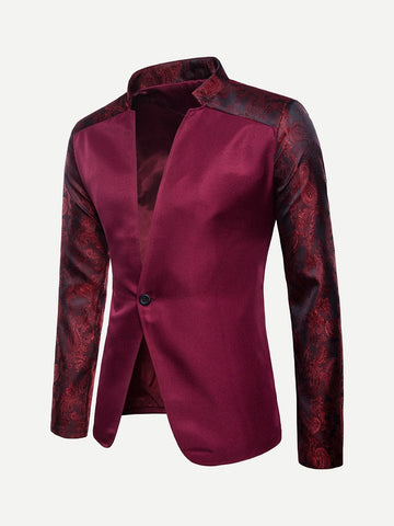 Burgundy Stand Collar Polyester Jacquard Single Button Blazer
