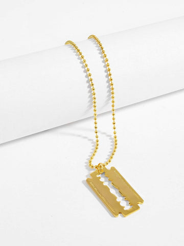 Gold Blade Pendant Necklace