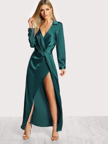 Deep V Collared Plunge Neck Twist Satin Dress