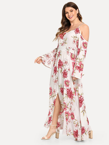 White Rayon Spaghetti Strap Plus Open Shoulder Trumpet Sleeve Floral Dress