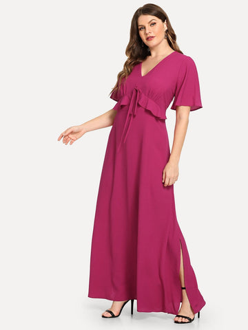Hot Pink Polyester V Neck Plus Knot Detail Ruffle Solid Dress