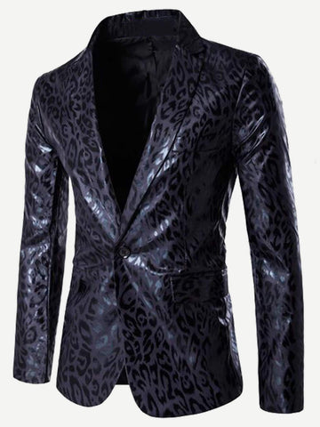 Black Leopard Print Single Button PU Blazer