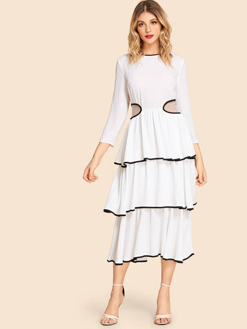 Mesh Insert Contrast Binding Tiered 100% Polyester Round Neck Dress