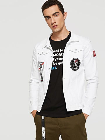 White Single Button Embroidery Patched Denim Jacket