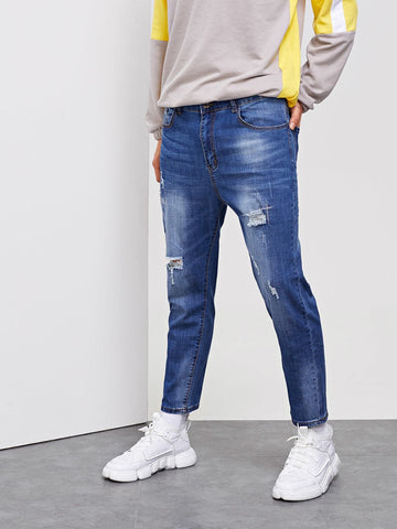 Blue Destroyed Washed Skinny Tapered Carrot Jeans
