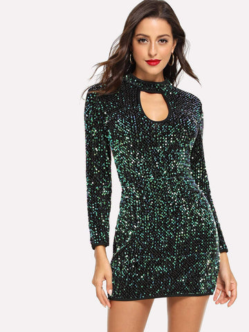 Green Keyhole Sequin Bodycon Dress
