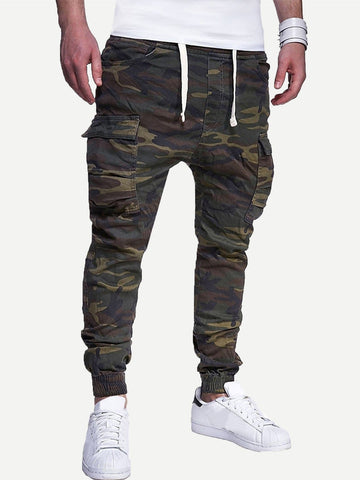 Drawstring Waist Pocket Detail Camo Print Sweatpants