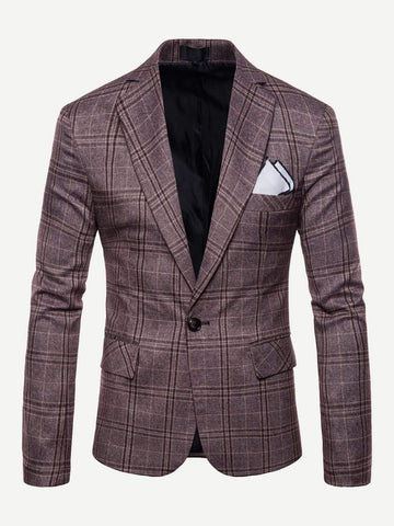 Notched Collar Single Button Split Back Plaid Blazer