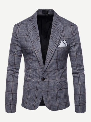 Regular Fit Grey Plaid Single Button Blazer