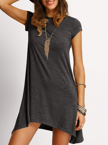 Cap Sleeve Round Neck Asymmetrical Hem Heathered Tee Dress