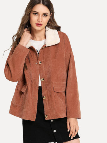 Single Breasted Button Front Pocket Detail Corduroy Coat