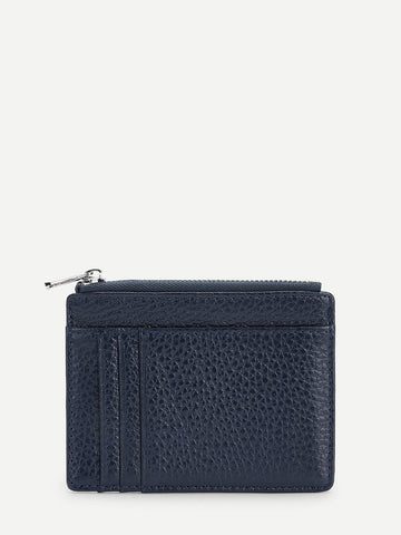 PU Leather Navy Zip Front Wallet