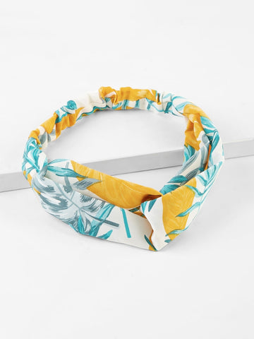 Multicolor Polyester Twist Tropical Headband