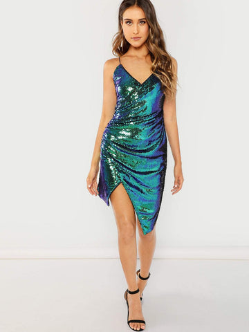 Green Sleeveless V-Neck Spaghetti Strap Wrap Ruched Iridescent Sequin Cami Dress