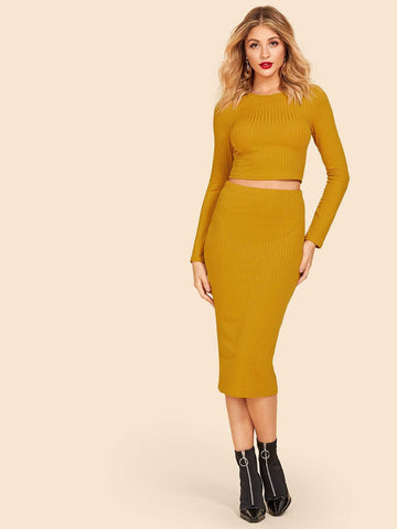 Round Neck Rib-knit Form Fitting Crop Top & Skirt Set