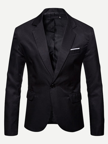 Regular Fit Notched Collar Single Button Blazer