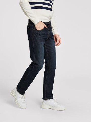 Navy Blue Straight Leg Button Fly Jeans