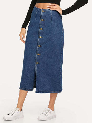 Black High Waist Slit Front Button Up Denim Skirt
