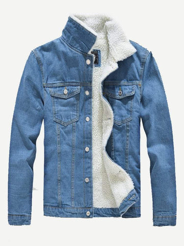 Blue Funnel Neck Single Breasted Shearling Lined Denim Jacket