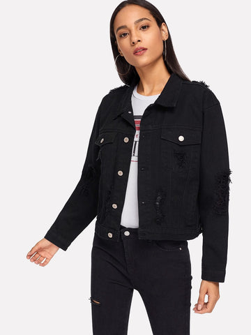 Black Single Breasted Pocket Patched Ripped Jacket