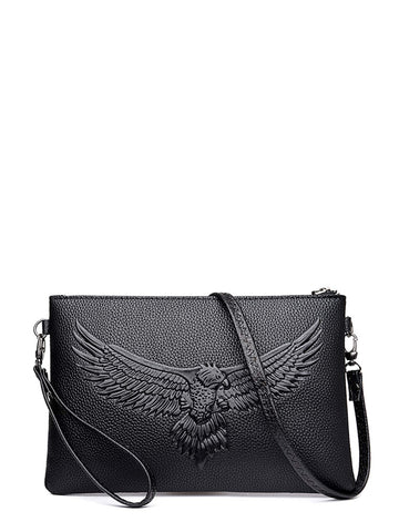 Black PU Leather Eagle Embossed Clutch Bag