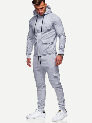 Grey Long Sleeve Plain Hooded Jacket With Drawstring Pants