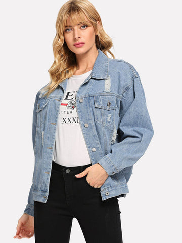 Long Sleeve Ripped Single Breasted Drop Shoulder Denim Jacket
