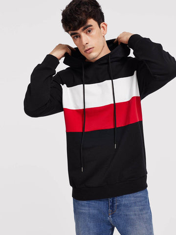 Color Block Drawstring Hoodie Pullover