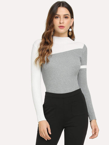 Contrast Panel Stand Collar Slim Sweater Pullover