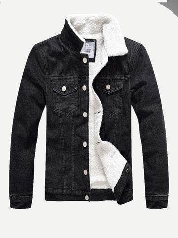 Single Breasted Shearling Lined Black Denim Jacket