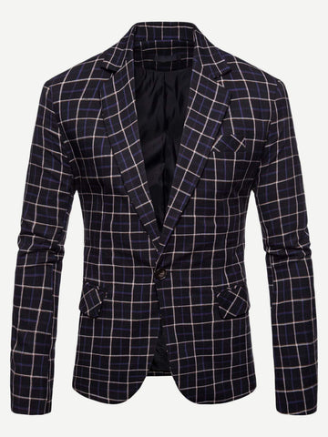 Notched Collar Single Button Plaid Blazer