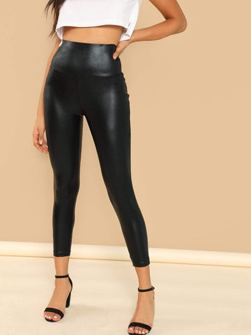 Stretchy Wide Waist Metallic Leggings
