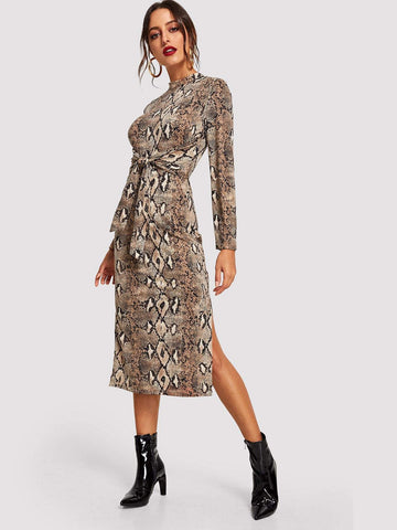 Stand Collar Mock-Neck Snake Skin Print Dress