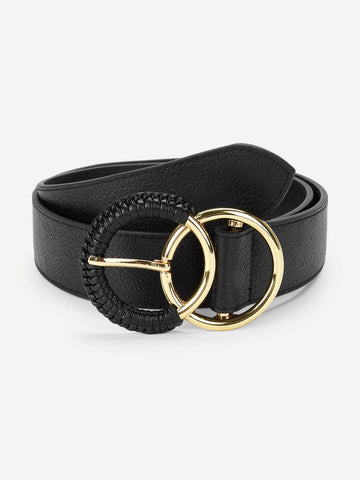 Black Double Circle Buckle Belt