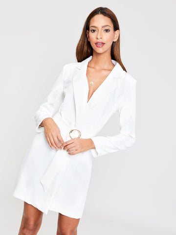 White V Neck Self Belted Solid Blazer Dress