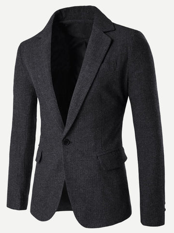 Split Regular Fit Polyester Single Button Blazer