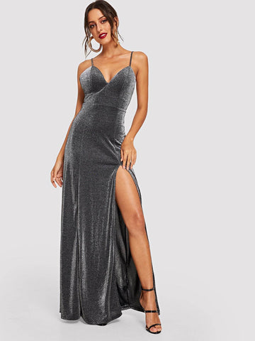 Grey Sleeveless Spaghetti Strap High Split Glitter Cami Maxi Prom Dress