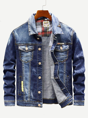 Blue Single Breasted Ripped Letter Print Wash Denim Jacket